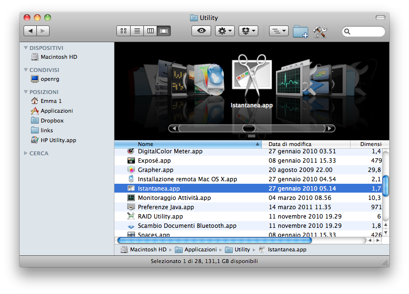 Screenshot su MAC OS X